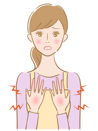 dry hand young woman illustration. Beauty and healthy skin care concept
