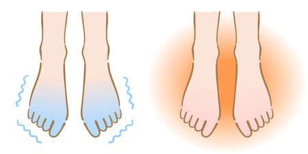 cold and warm feet.Human body part. health care concept