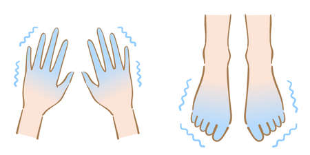 shaking cold feet and hands illustration. Human body part. health care concept