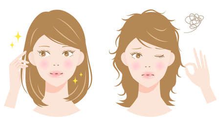 healthy and damaged hair and women illustration. hair care and beauty concept 矢量图像
