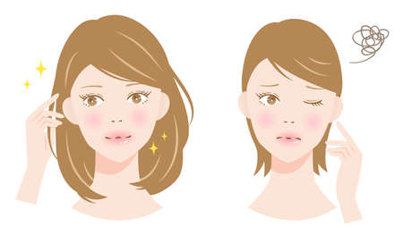 voluminous and thin hair woman illustration.  hair care and beauty concept
