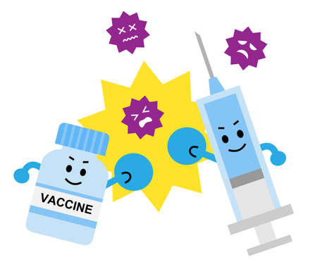 vaccine fight virus and bacteria illustration. Health and medical  care concept 矢量图像