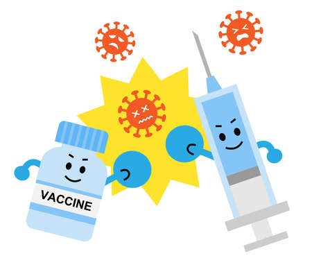 vaccine fight virus and bacteria illustration. Health and medical care concept