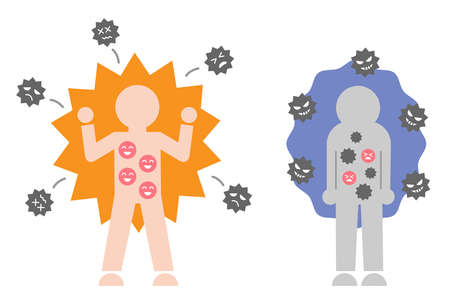 strong and weak immune system cute human icon illustration. Health care infection prevention concept. 矢量图像