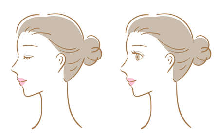 young woman side view illustration. Beauty care and treatment concept 矢量图像