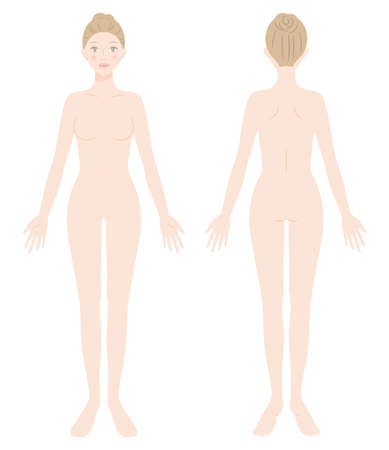 naked young female whole body. Beauty body care concept. Isolated on white background.