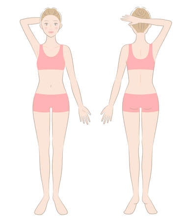 woman full body in sports bra and shorts. front and back view of standing female. Beauty body care concept 矢量图像