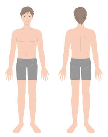 young male full body in underwear illustration.  healthy body care concept