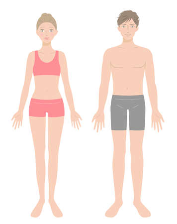 young man and woman full body in underwear. Beauty and healthy body care concept