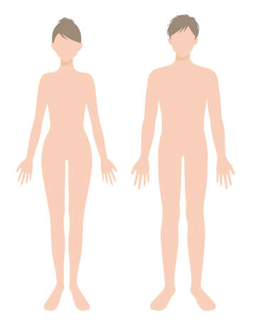man and woman full body flat illustration. Beauty and healthy body care concept