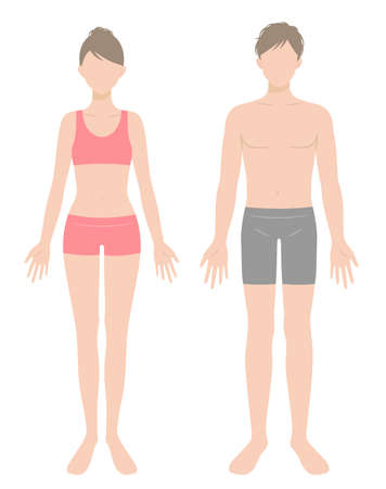man and woman full body flat illustration in underwear. Beauty and healthy body care concept