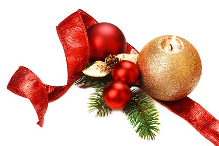 Christmas decorations, on white background. photo