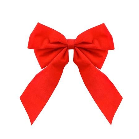 velure: Vibrant, red bow on white background