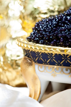 Elegant styling black caviar, still life