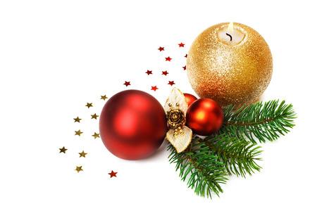 carte postale noel ancienne: Bougie de Noël et décorations isolé.
