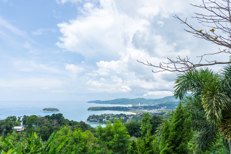 kata: Nice view with green tree and show of shoreline at Karon view point Phuket, Thailand