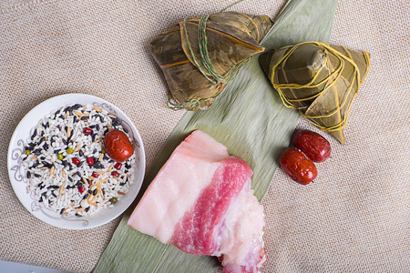to lean: zongzi , lean meat & red date Stock Photo