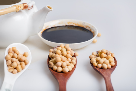 soy sauce: soy sauce, soy bean with tea pot
