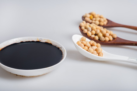 soy sauce: soy sauce & soybean Stock Photo