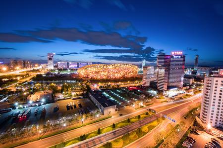spectral color: The birds nest stadium landscape