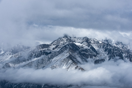 earthly: The snow capped mountains Stock Photo