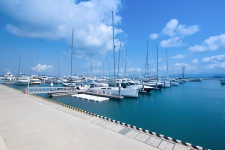 Marina port with yachts Stock Photo
