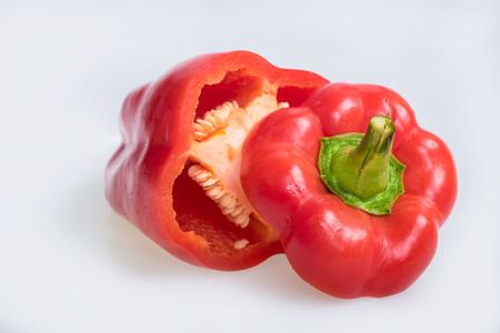 capsicum: Red capsicum on white background Stock Photo
