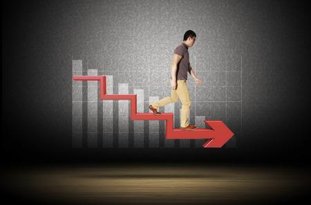 De dalende trend in Stockfoto