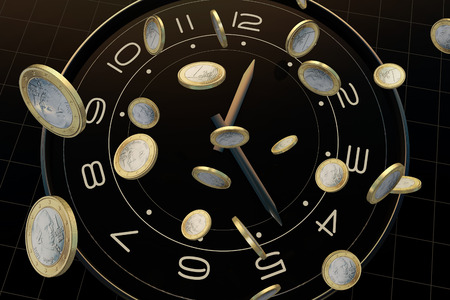 accomplishments: Time and money, represents the precious time Stock Photo
