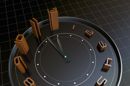 business time: A clock, representing the passage of time, the importance of time Stock Photo