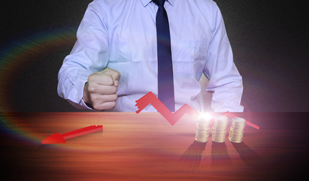 suppress: Concept of the external factors for the development of the economy, and economic stagnation Stock Photo