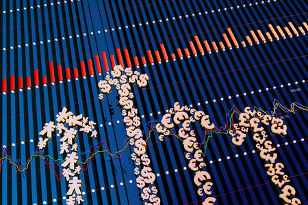 dollar symbol: Currency symbol of financial arrow, the stock market data and statistics Stock Photo