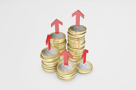 accumulation: Financial arrows and gold coins, business finance, wealth accumulation