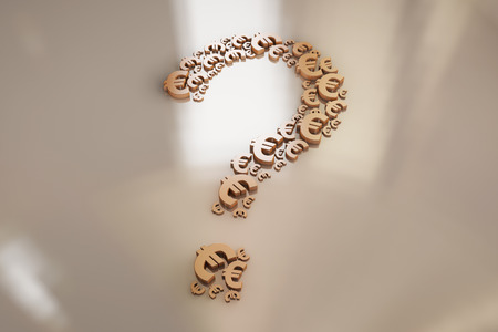 Currency symbol and question mark, question Stock Photo