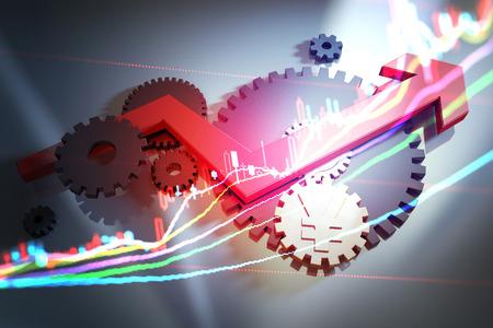 Red arrows, financial gear, stock market transaction data