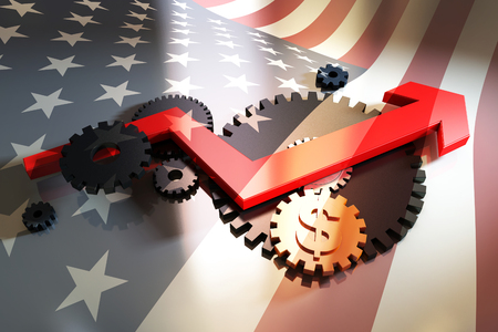 chieftain: Gear, arrow and currency symbol with US flag background