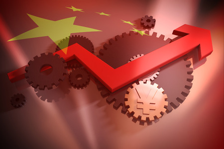chieftain: Gear, arrow and currency symbol with China flag background