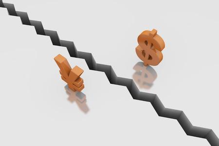 cast off: Monetary symbols and cracks, cooperation termination Stock Photo
