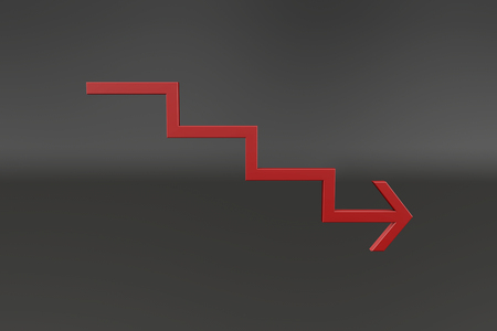 depreciation: Red ladder arrow