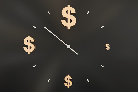currency symbol: Time and wealth, currency symbol Stock Photo