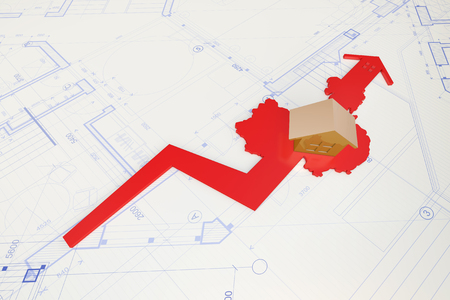ascendant: China map and arrow Stock Photo