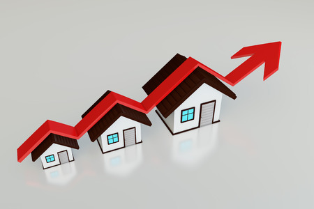 ascendant: Red success arrow and small house Stock Photo