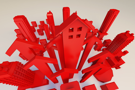ascendant: Red arrows and buildings Stock Photo