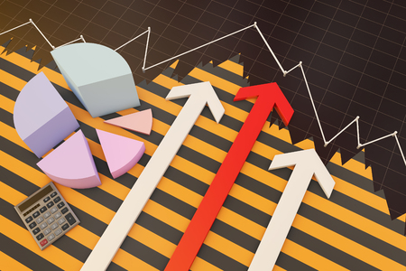 Financial arrows and data statistics Stock Photo