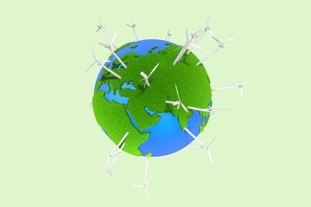 Grüne Erde und Windmühle Lizenzfreie Bilder