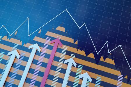 Financial arrows and data statistics Lizenzfreie Bilder