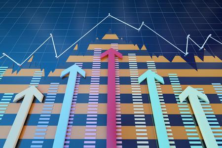 Successful arrows and data statistics Standard-Bild