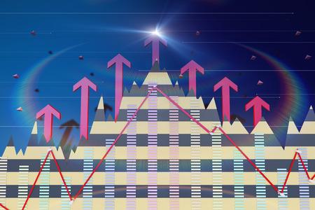 Successful arrows and data statistics Stock Photo