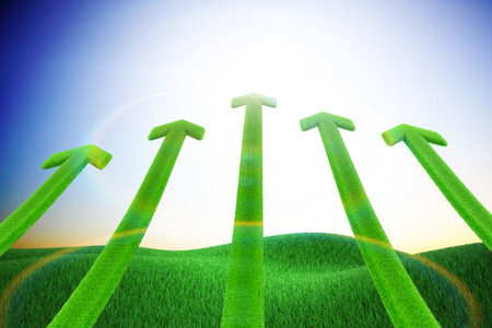 Green arrow and grassland