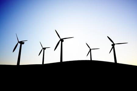 Silhouette of a windmill Standard-Bild